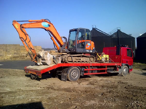 Plant Lorry with excavator load